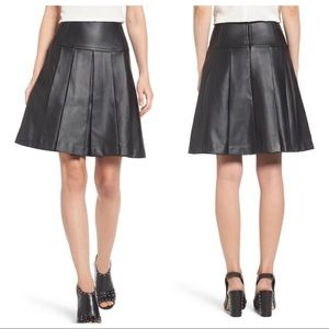 MICHAEL Michael Kors Faux Leather Pleated Skirt